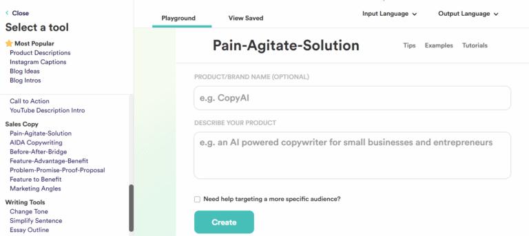 CopyAI Select Problem-Agitate-Solution